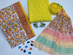 White and yellow floral print cotton suits with pure chiffon dupatta