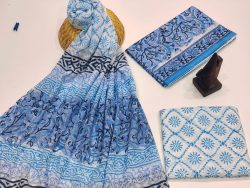 Blue and white cotton suit with mulmul dupatta