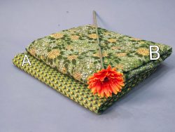 Dull green floral print green and dull green pure cotton running material