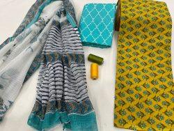 Yellow cotton salwar suit with kota doria dupatta