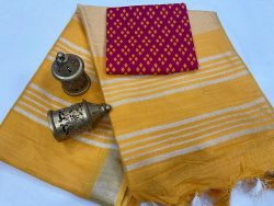 Marigold linen saree with separate printed blouse