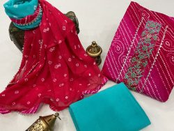 Ruby and azure embroidered salwar kameez with chiffon dupatta online