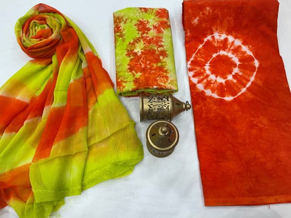 Orange- red  and Green Citrus cotton suits with pure chiffon dupatta