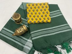 Dark green Plain linen saree with separate printed blouse