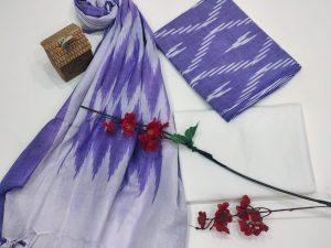 Amethyst Ikkat suit set with dupatta