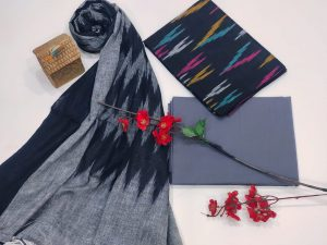 Persian blue and Gray Ikkat suit set with dupatta