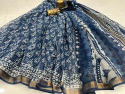 Blue kota doria sarees in jaipur