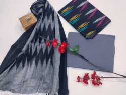 Blue and slate gray ikkat salwar suit with dupatta