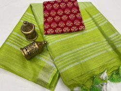 Lime linen saree with separate printed blouse