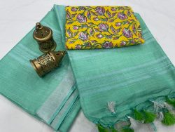 Electric blue linen saree with printed cotton blouse