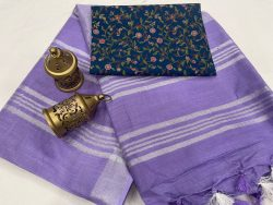 Amethyst plain linen saree with printed cotton blouse