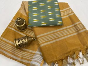 Marigold plain linen saree with separate printed blouse