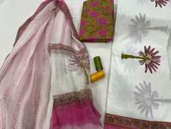 pink and white mugal print Cotton suit with doria dupatta