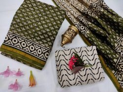 olive and White Chanderi suit fabric with chanderi dupatta