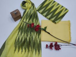 Yellow and olive Ikkat suit set with dupatta
