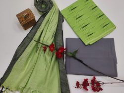 Lime and slate gray ikkat salwar suit with dupatta