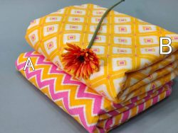 Yellow and pink cotton running material