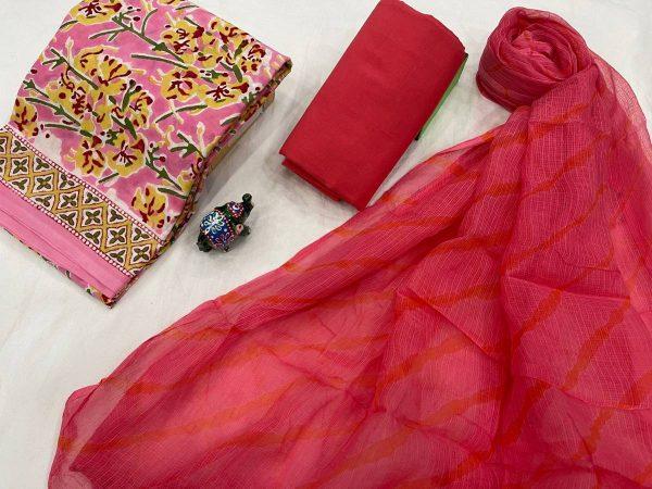 Cardinal crimson and Pink Cotton Suit With Kota doria Dupatta