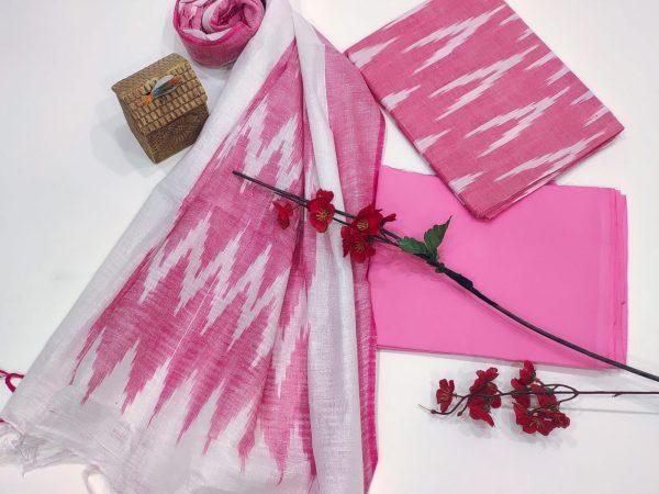 Pink ikkat salwar suit set With Dupatta