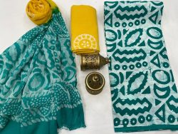 Tropical Green And green cotton dress materials with chiffon dupatta