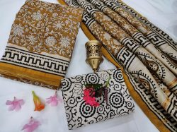 Gold and white chanderi suit salwar with dupatta