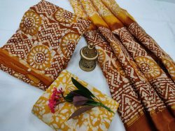 Yellow and brown chanderi salwar suit dress material with dupatta