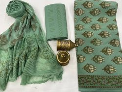 Acapulco green cotton suits with pure chiffon dupatta