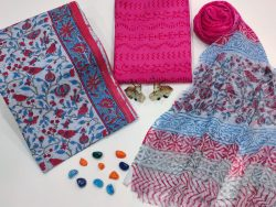 Blue and magenta floral print Cotton suit fabric with chiffon dupatta