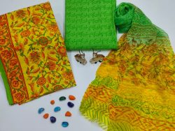 Yellow and green floral print  cotton suits with pure chiffon dupatta