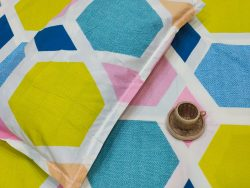Azure And lime Poly Cotton bed sheet with pillow