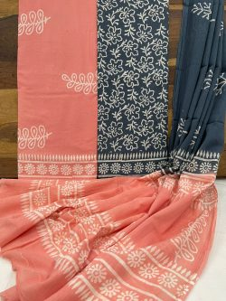 Coral And Teal Blue cotton dupatta suits online