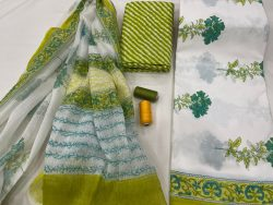 White and green Cotton suit with doria dupatta