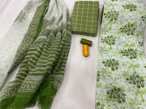 Green and white  Cotton suit with doria dupatta
