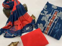 Blue cotton suits printed gota hand work suit