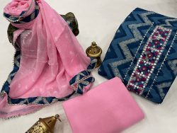 Pink and blue embroidery suits with chiffon dupatta