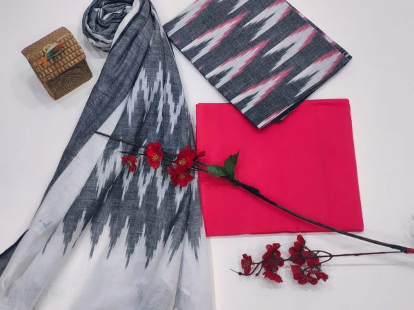 Magenta and Gray Ikkat suit set with dupatta