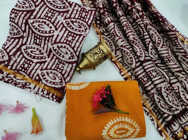 Amber and maroon chanderi suit set with dupatta