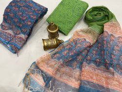 blue and green kota doria suits with dupatta online