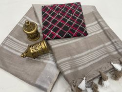 Taupe Gray linen saree with separate printed blouse