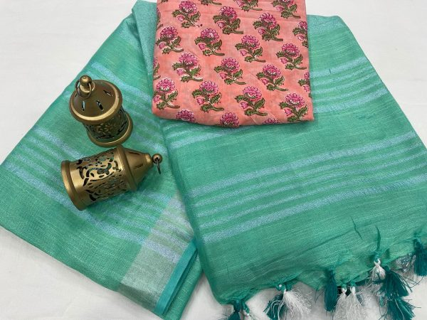 Tropical Green plain linen saree with printed cotton blouse