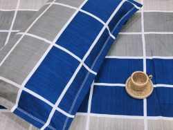 blue and Gray Poly pure cotton bed sheet with pillow