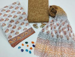 Brown and white color cotton suits with pure chiffon dupatta