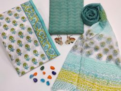 Teal and white color Cotton suit fabric with chiffon dupatta