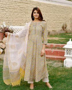 floral print stitched Cotton suit with kota doria dupatta