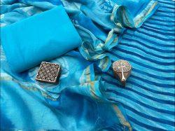 Azure Chanderi suit with chanderi dupatta online