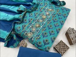 Azure and blue Cotton printed gota hand work suit set