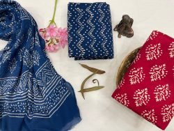 Red and blue suit material with chiffon dupatta