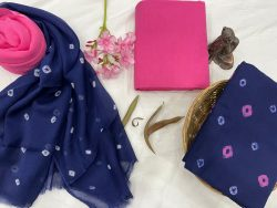 Blue and Pink cotton suits with pure chiffon dupatta wholesale