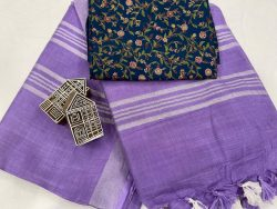 Amethyst saree with printed cotton blouse