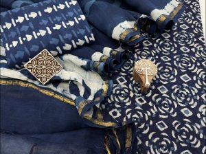 Dark Imperial Blue Chanderi suit with chanderi dupatta online